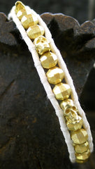 Chan Luu White Wrap Bracelet with Gold Vermeil Bead and Skulls