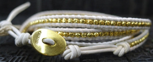 Chan Luu White Wrap Bracelet with Gold Vermeil Beads