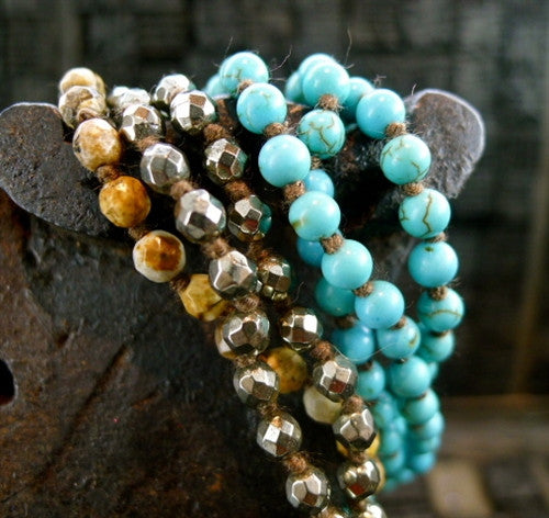Chan Luu Mixed Turquoise, Pyrite, Agate Bead Necklace