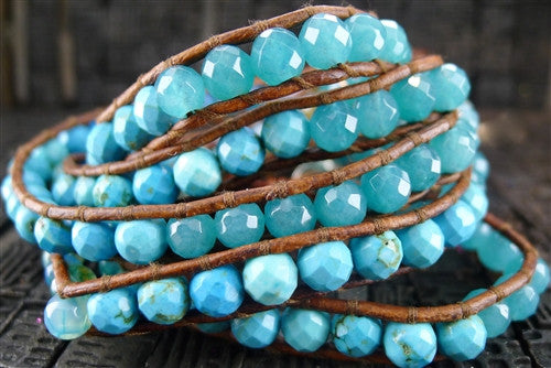 Chan Luu Brown Wrap Bracelet with Mixed Faceted Turquoise Beads