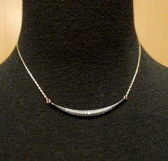 Mizuki 14K Yellow Gold, Diamond and Shadow Silver Necklace with Horizontal Icicle Crescent Charm
