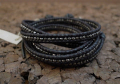 Chan Luu Gunmetal Wrap Bracelet on Black Leather