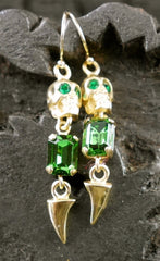 Michael Spirito Jewelry Skull with Emerald Swarovski Tooth Gold Plated Earrings