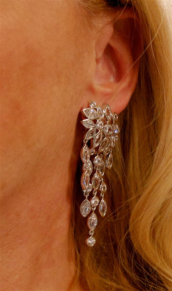 Jardin/Kenneth Jay Lane Cascading Marquis Diamond Chandelier CZ Earrings