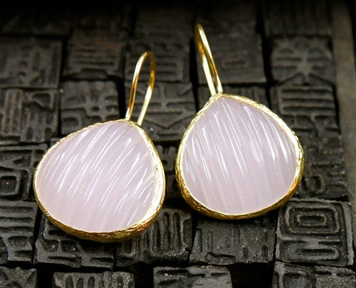 Coralia Leets Fluted Rose Quartz Teardrop Earrings