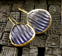 Coralia Leets Melon Cut Iolite Drop Earrings