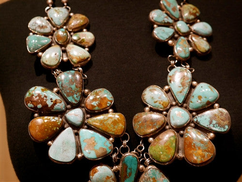 Navajo Sterling Silver and Pilot Mountain Turquoise Flower Necklace