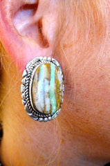 Pawn Native American Earrings - Turquoise in Sterling