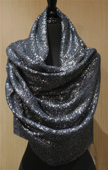 Bajra Cashmere Mini Paillette Sequin Scarf/Stole in Teal Blue with Silver Sequins