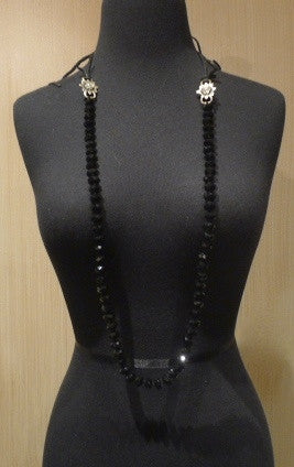 Love Heals Nysa Necklace in Faceted Black Jet Beads