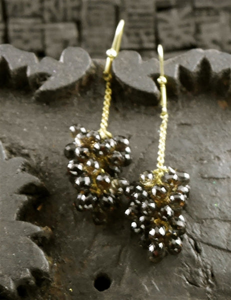 Amrapali 22K Yellow Gold and Smoky Topaz Grape Cluster Drop Earrings
