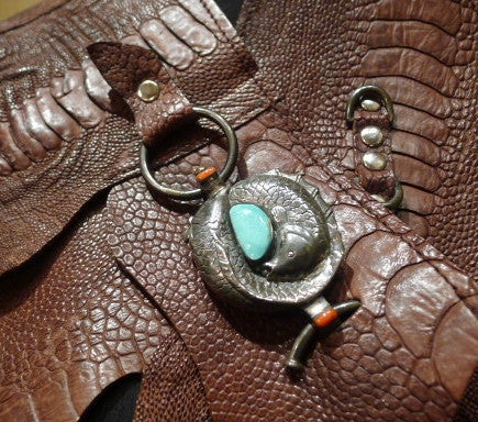 Divine Tribe Ostrich Belt with Sterling Silver, Turquoise, and Coral Buckle