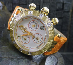 Seah Chronograph Watch with Genuine Orange Crocodile Strap with Diamonds