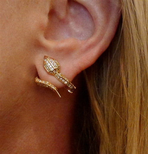 Jack Vartanian 18K Yellow Gold and Diamond Snake Earrings