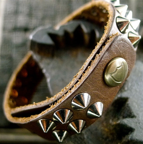 HTC Hollywood Trading Company Iconics Bracelet in Brown with Silver Studs