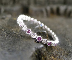 Beverly K 18K White Gold, Pink Sapphire and Diamond Eternity Band Ring