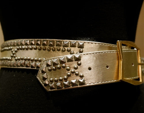 B-Low the Belt Pale Gold or Silver Studded Belt