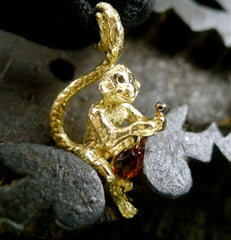 "Catherine Michiels 14K Yellow Gold ""Marcelito"" Love Monkey Charm Pendant"
