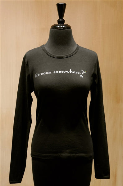 Penelope's Voice Black Jeweled Long Sleeve T-Shirt- It's Noon Somewhere