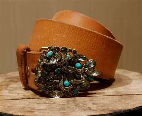 B-Low the Belt Crystal Embellished Buckle with Cognac Leather Belt