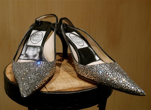 Emma Hope Black Satin Strass Crystal Sling Back Shoes