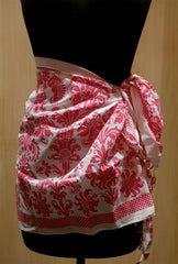 Graham Kandiah Toile Short Pink and White Biarrite Sarong