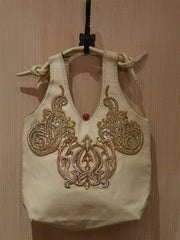Buba Blonde Gold Embroidered Tote Handbag