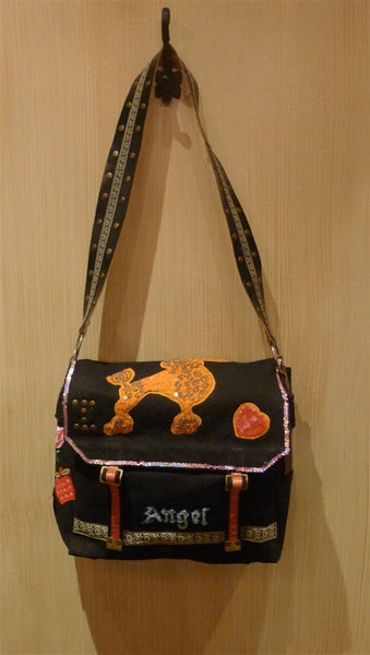 4 Bonfims Angel Black Tote Handbag with Appliques