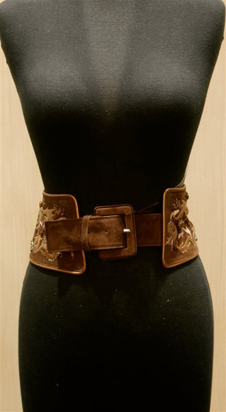 Adrienne Landau Jewel Embroidered Brown Suede Belt