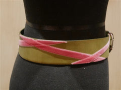 Linea Pelle Green Belt with Pink Velvet Embroidery
