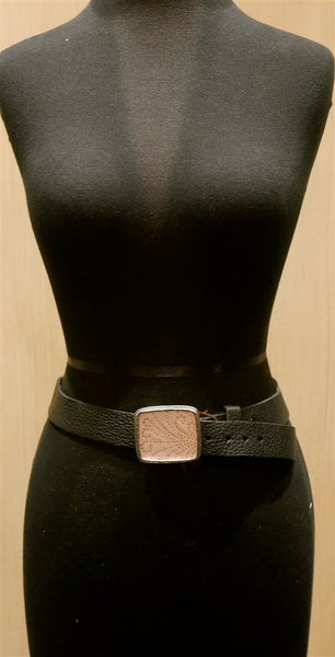 B-low the Belt Pink and Gold Silk Fragment Buckle on Brown Belt