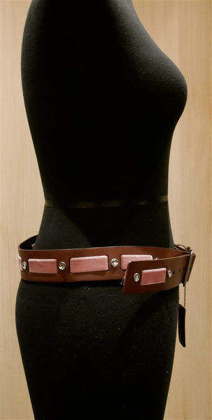 Linea Pelle Brown Belt with Pink Velvet Ribbon and Crystals