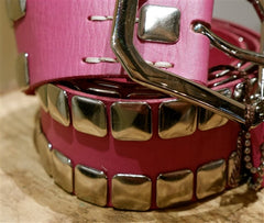 Linea Pelle Pink Leather Heavily Studded Belt