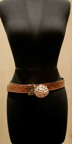 B-Low The Belt Pink Enamel Flower Buckle on Brown Belt