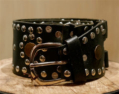 Continental Leather Fashion Studded Black Belt