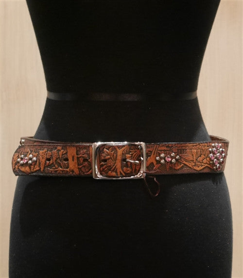 B-Low The Belt Brown Tooled Belt with Wildlife Scenes