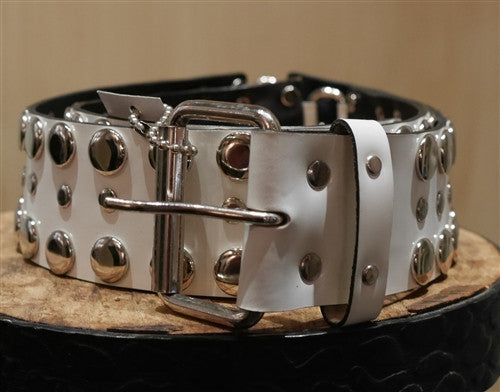 Continental Leather Fashion White Stud Belt