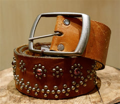 B-Low The Belt Milano Jewel Studded Belt - Cognac Leather