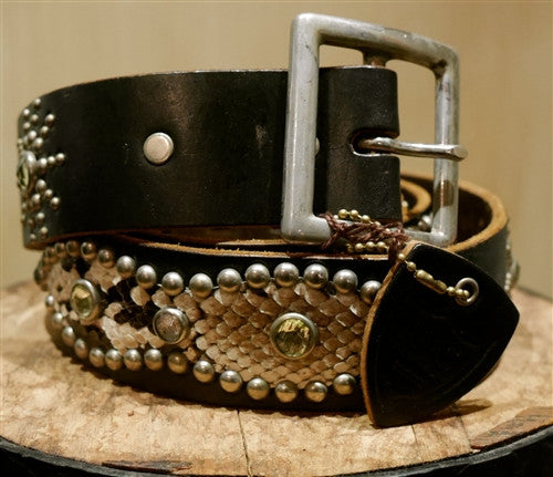 Hollywood Trading Company Jewel Stud Brown Belt