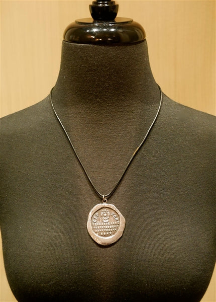Pyrrha CTPKOP Large Sterling Silver Medal Necklace on Leather Cord