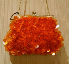 Moyna Orange Sequin Beaded Handbag/Clutch