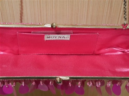 Moyna Hot Pink Sequin Beaded Bag/Clutch