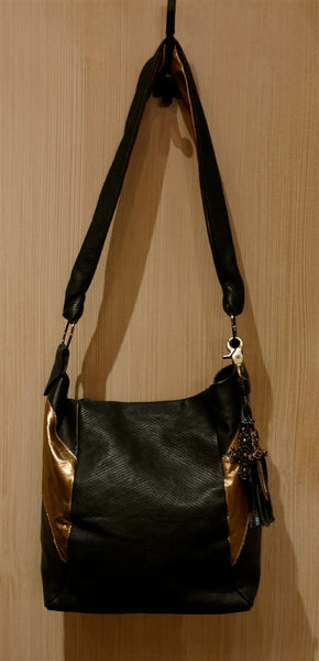 Tylie Malibu Black and Gold Charm Tote Handbag
