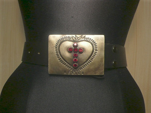 Virgins Saints and Angels Red Heart and Cross Buckle