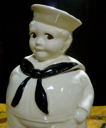 American Painted Ceramic Cookie Jar of a Sailor Boy Stealing a Cookie