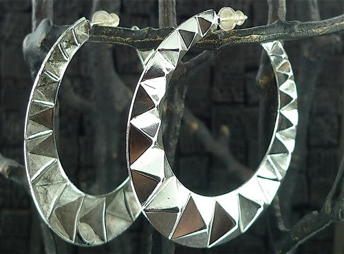 Helena Zubeldia Creole Pyramid Stud Hoop Earrings