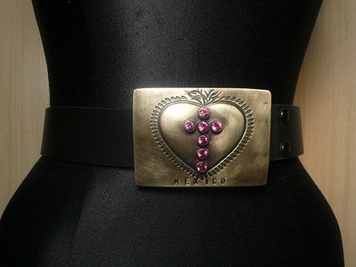 Virgins Saints and Angels Pink Swarovski Crystal Cross on Heart Engraved Buckle