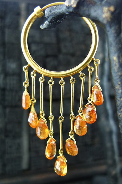 Amrapali 22K Yellow Gold and Orange Garnet Earrings