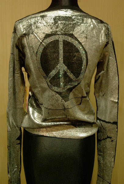 And Cake Black Cashmere Sweater with Silver Metallic Paint Silkscreen and Swarovski Peace Sign Back