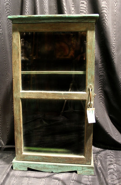 Vintage Shabby Chic Green Painted Display Cabinet